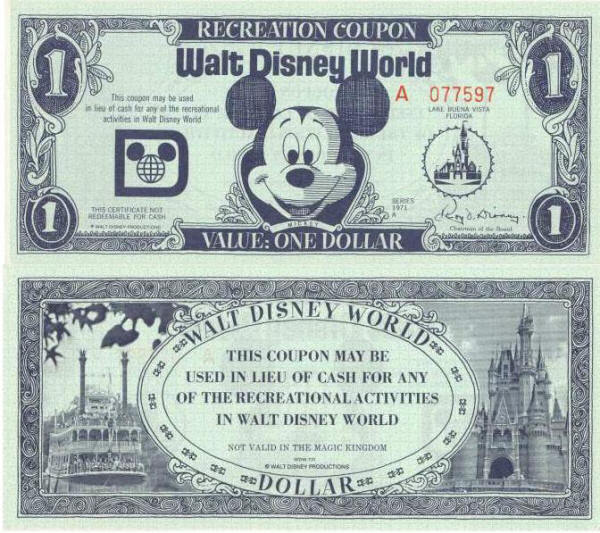 1971 Walt DisneyWorld Recreation Coupon