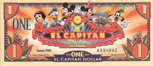 2001 El Capitan Theater Disney Dollar Reverse (back)