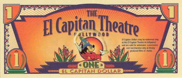2001 El Capitan Theater Disney Dollar Obverse (front)