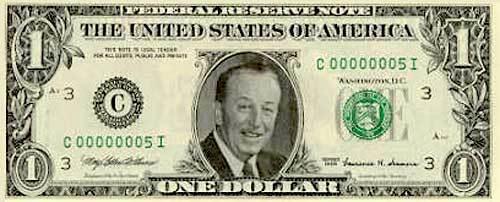 Walt Disney One Dollar Bill