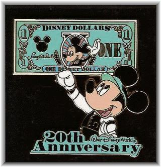 20th Anniversary Disney Dollar Lanyard Pin