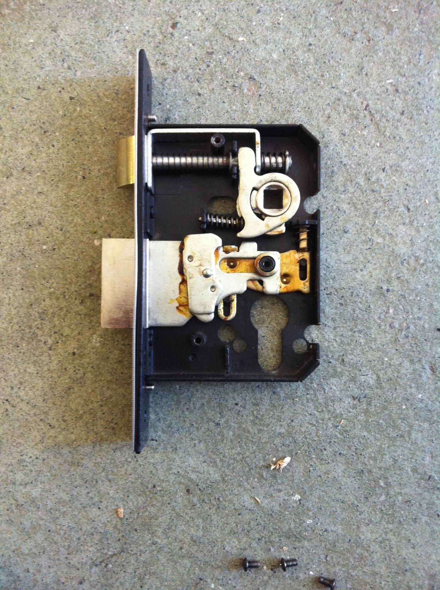 Inside a mortice lock