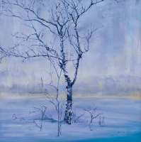 Kathleen Black's The Lake of Spaces shows a tree by a lake in the winter