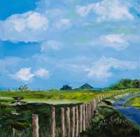 Kathleen Black's The View from Four Cross Lane shows a fence stretching off into a green hilly landscape