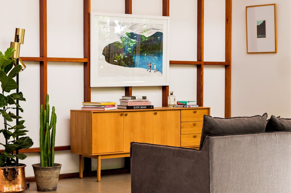 Living room with two pictures hanging from the walls