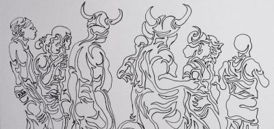 Jab Jab#1 One Line  Drawing - $1900