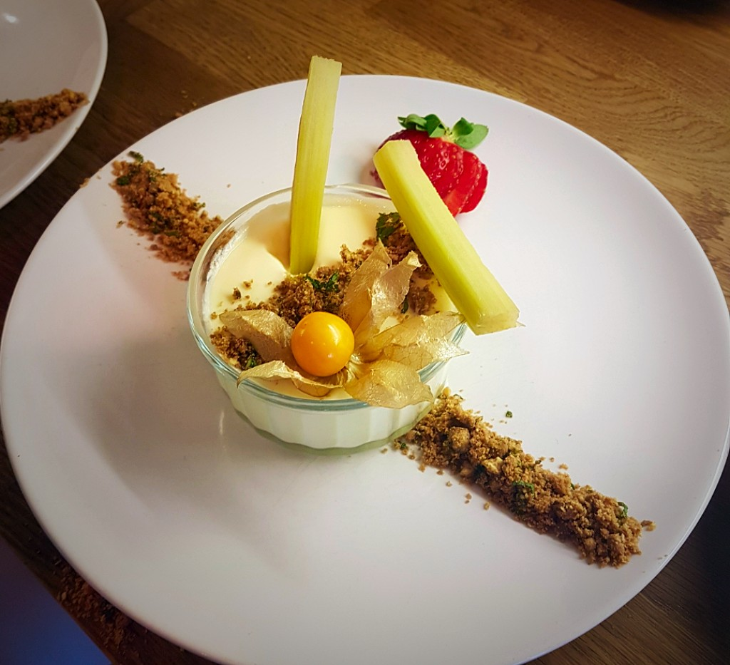 White Chocolate Mousse with Poached Rhubarb and Ginger Crumble