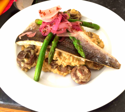 oven baked seabass with mushroom and asparagus risotto