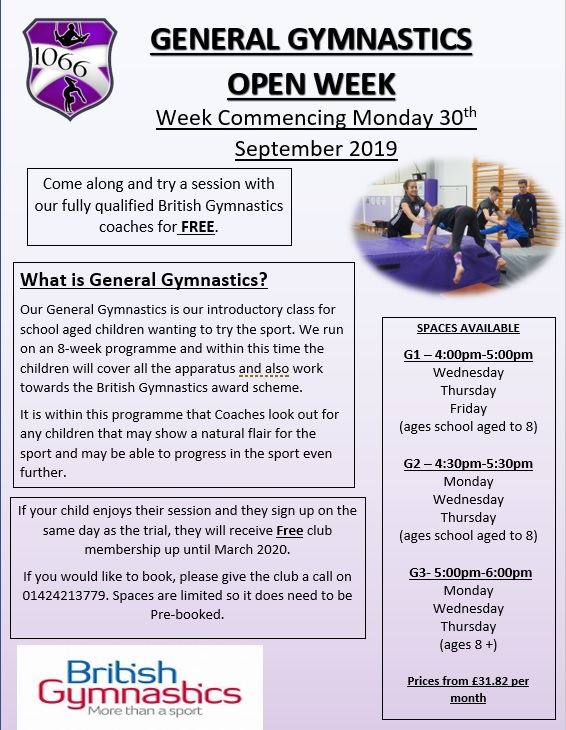 General Gymnastics:  Open Week