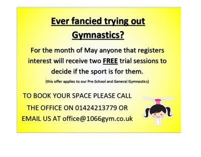 Free Gymnastics Sessions in May*