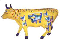 Acrylic painting, life size cow, Frankfurt Bookfair by Michaela Seidl
