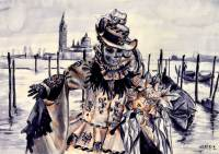Mixed Media work of a traditional Venetian mask at the Venice Carnival by Michaela Seidl