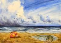 Mixed media work - beach, Boca Raton, Florida by Michaela Seidl
