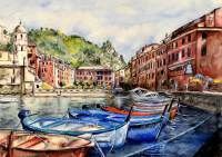 Mixed media work - Vernazza, Cinque Terre, Italy by Michaela Seidl