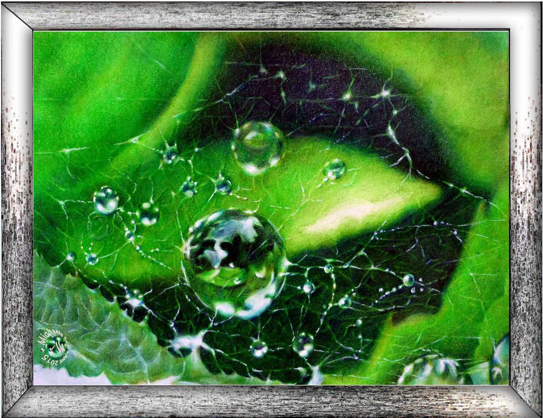 Water droplets - mixed media work on seidlart by Michaela Seidl