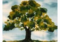Tree, silk painting by Michaela Seidl