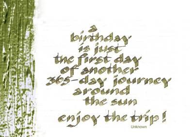 Calligraphy - handwritten birthday greetings on seidlart by Michaela Seidl