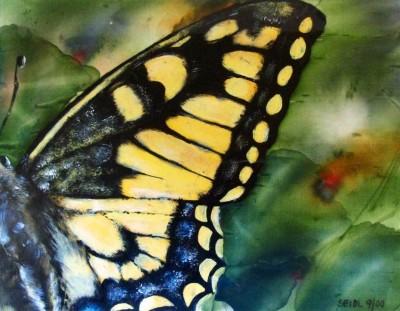 Silk - butterfly painted on silk on seidlart by Michaela Seidl