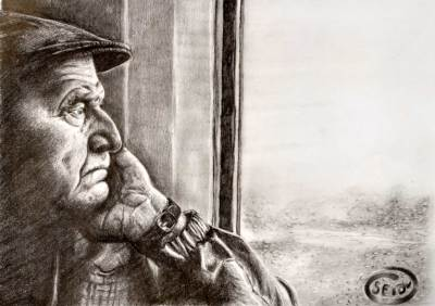 Old man on train in category drawing - pencil drawing on seidlart.com by Michaela Seidl