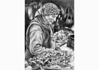 Outdoors - pencil drawing of a market vendor by Michaela Seidl, photo reference Wolfgang Stocker