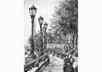 Outdoors - pencil drawing of a park in New York by Michaela Seidl, photo credits Wolfgang Stocker