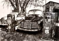 Outdoors - pencil drawing of a cars on route 66 by Michaela Seidl, photo credits Wolfgang Stocker