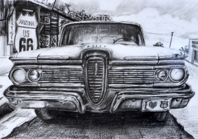 Car on Route 66 in category drawing - pencil drawing on seidlart.com by Michaela Seidl, photo reference Wolfgang Stocker