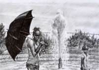 Outdoors - pencil drawing of a fountain in San Diego by Michaela Seidl, photo credits Wolfgang Stocker