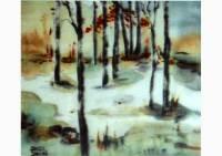 Landscape, silk painting by Michaela Seidl