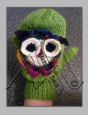 Knitting, crochet, emboidered owl face