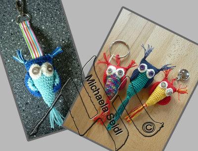 Keyholder, crochet owls