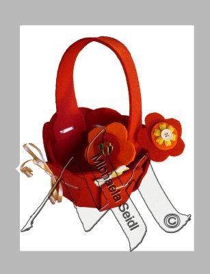 Orange felt bag with felt flowers