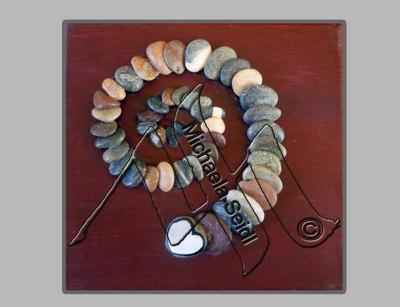 Pebbles glued on painted canvas