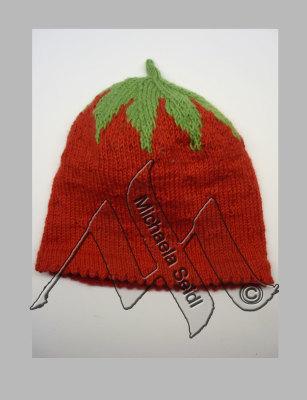 Knitting, strawberry hat