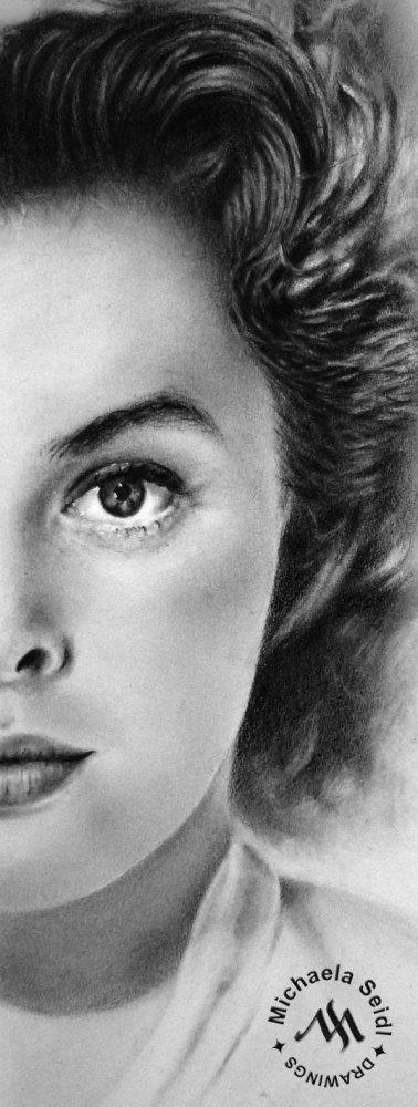 Portrait of Ingrid Bergman - pencil drawing on seidlart.com by Michaela Seidl