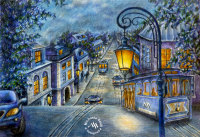 Drawing, colored pencils, street, dusk by Michaela Seidl
