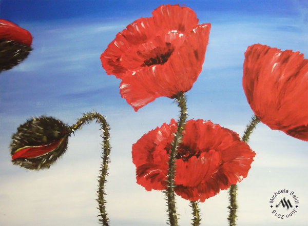 Acrylics, painting, poppies by Michaela Seidl