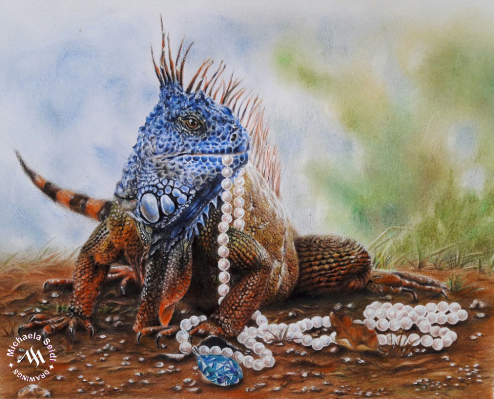 Colorful Iguana - colored pencil drawing on seidlart.com by Michaela Seidl, photo reference Wolfgang Stocker