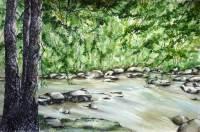 Mixed media work - riverside, landscape, Upper Austria by Michaela Seid