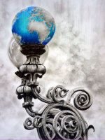 Drawing, lantern, street lamp, blue by Michaela Seidl