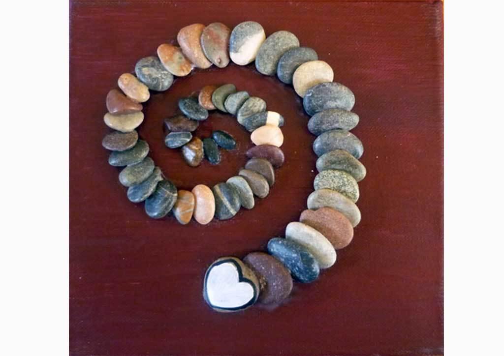 Pebbles on Canvas - stone work on painted canvas on seidlart.com by Michaela Seidl