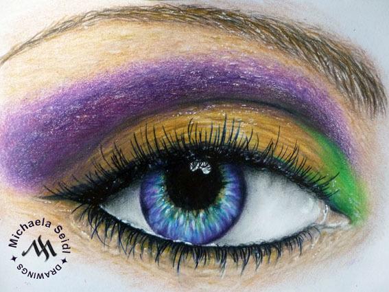 Bright Eye - colored pencil work on seidlart.com by Michaela Seidl