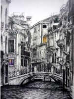 Pencil drawing, Venice, canal by Michaela Seidl