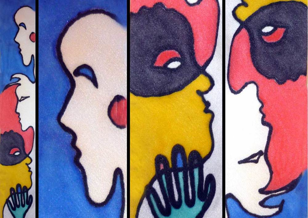 One Line Faces - colorful silk work on seidlart.com by Michaela Seidl