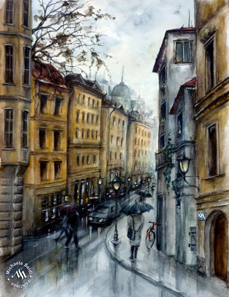 Watercolor Street in Rain by Michaela Seidl