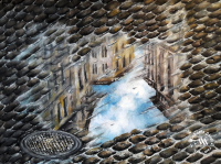 Watercolor painting of a street image reflecting in a puddle by Michaela Seidl