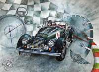 Watercolor painting of a classic Morgan by Michaela Seidl