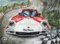 Watercolor painting of a Lancia Stratos by Michaela Seidl