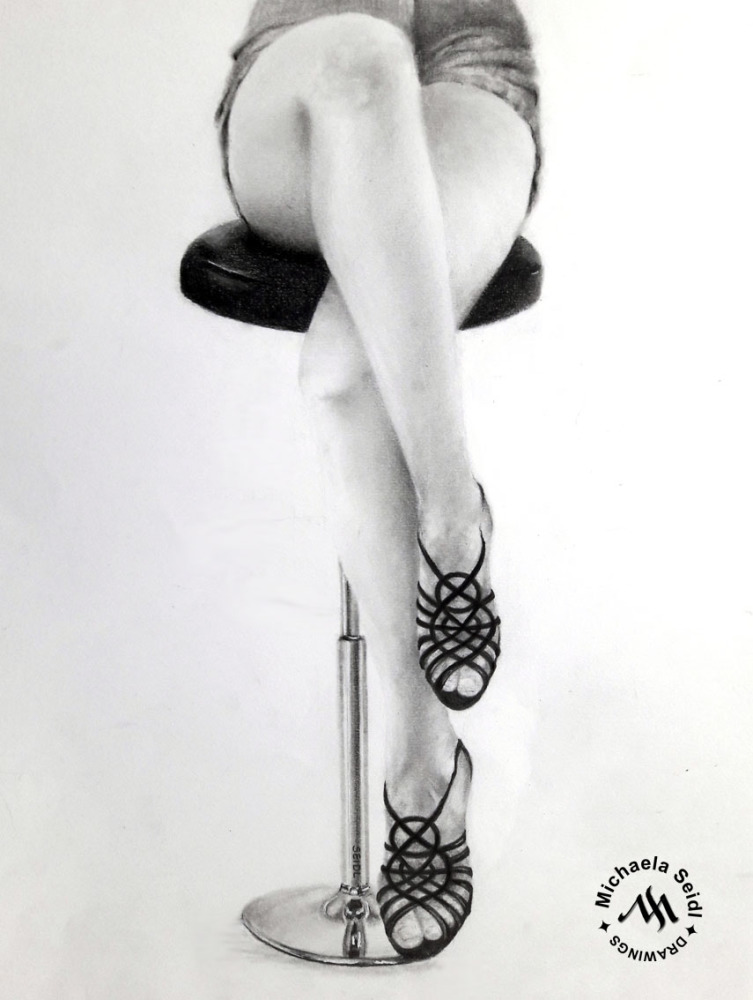 Pencil drawing of black high heel sandals by Michaela Seidl