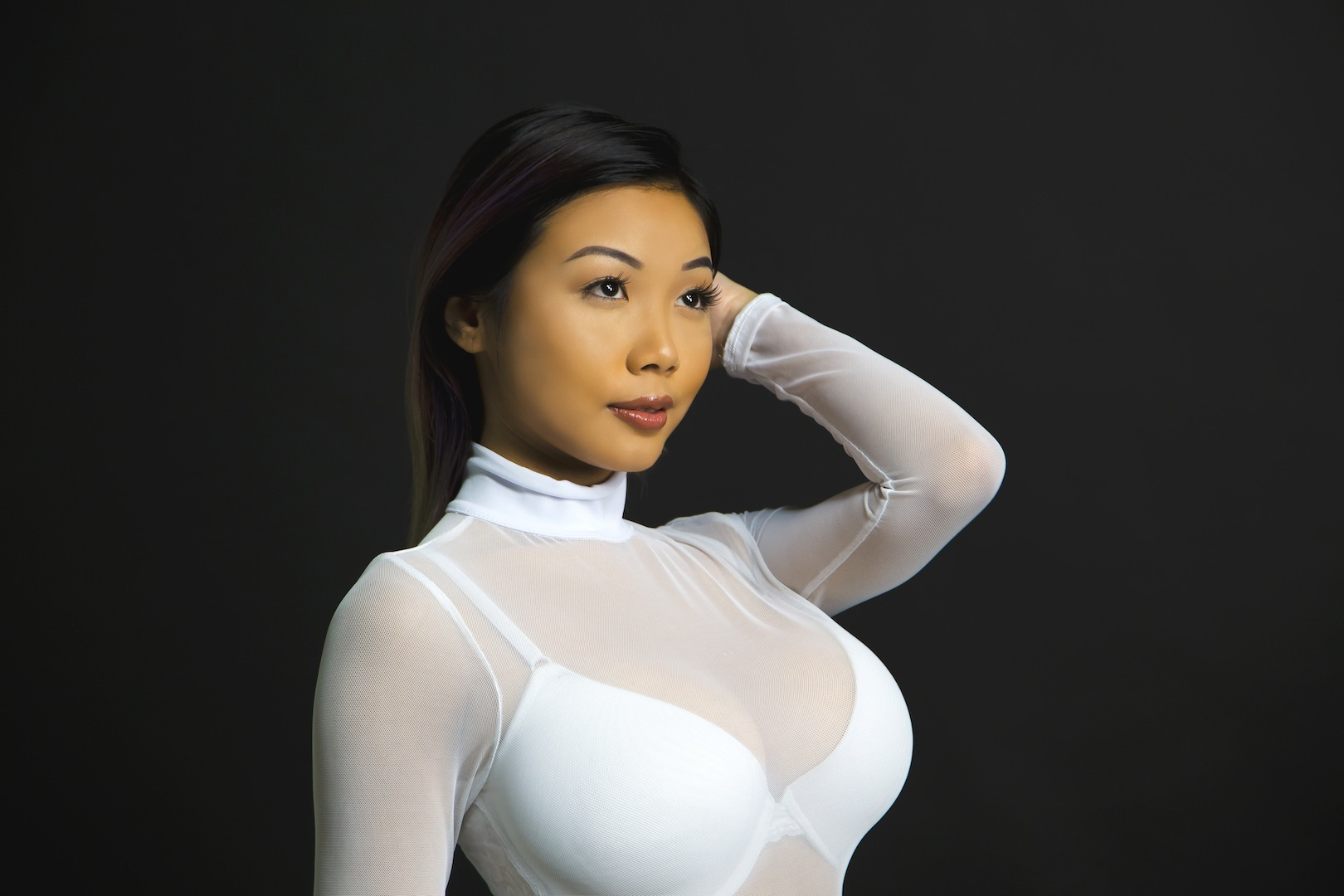 ASIAN MODEL IN WHITE SEE THROUGH BLOUSE